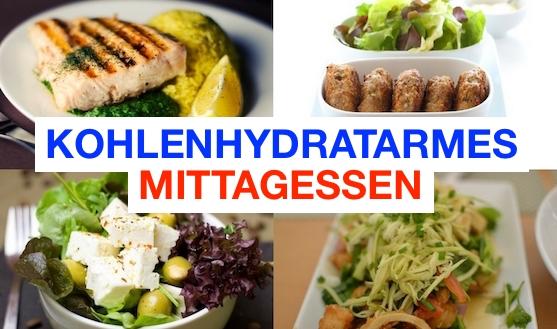 Foto von vier Speisen für ein kohlenhydratarmes Mittagessen.