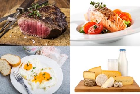 Low Carb Ernährungsplan: Foto von den eiweißhaltigen Lebensmitteln Fleisch, Fisch, Eier und Milchprodukte.