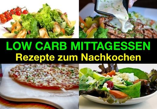 Foto von vier Low Carb Mittagessen Rezepte zum Nachkochen.