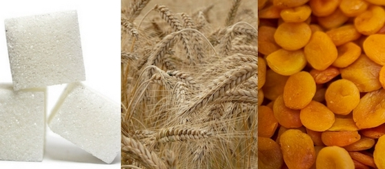 Foto von Zucker, Weizen und Trockenfrüchten.