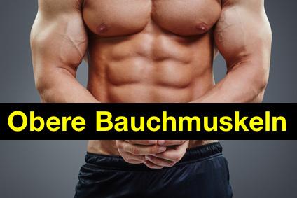 Obere Bauchmuskeln: Foto von einem Mann mit kräftigem Sixpack.