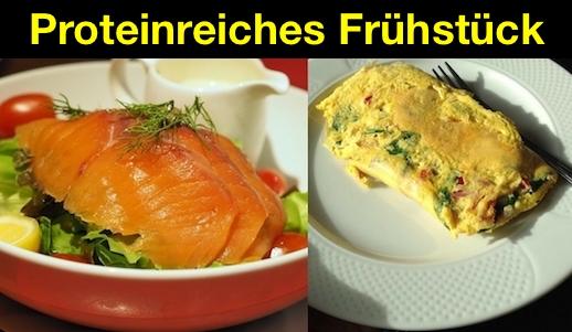 Proteinreiches Frühstück: Foto zweier Rezepte mit viel Eiweiß..