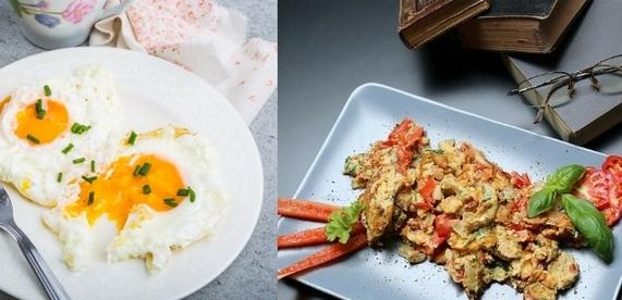 Proteinreiches Frühstück: Foto von einem Spiegelei und einem Rührei.