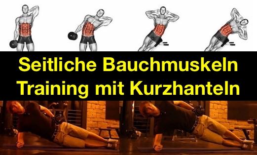 Seitliche Bauchmuskeln Training: Foto von Übungen mit Kurzhantel.