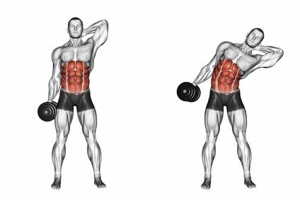 Seitliche Bauchmuskeln Training: Foto von der Übung Rumpfbeugen seitlich mit Kurzhantel.