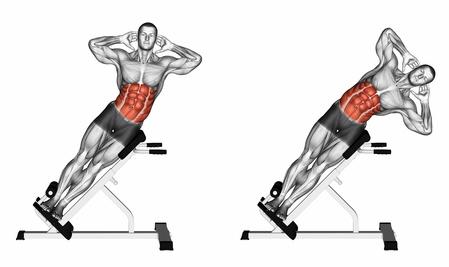 Seitliche Bauchmuskeln Training: Foto von der Übung seitliches Oberkörperbeugen am Gerät mit Kurzhantel.