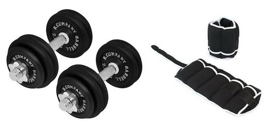 Seitliche Bauchmuskeln Übung: Fotos von Zubehör wie Kurzhanteln und Gewichtsmanschetten.