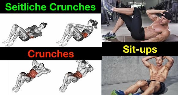 Seitliche Crunches: Foto von den Übungen seitlicher Crunch, Crunches und Sit-ups.