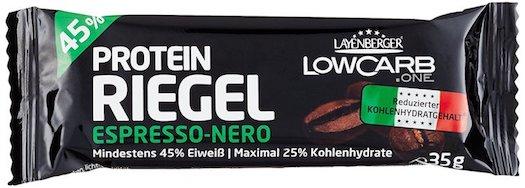 Waschbrettbauch in 6 Wochen: Foto einem Eiweissriegel von Layenberger mit Espresso Geschmack.