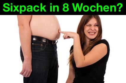 Sixpack in 8 Wochen: Foto von einem Mann mit Bierbauch.