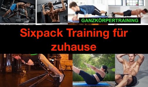 Sixpack Training für zuhause: Foto von verschidenen Übungen.