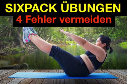 Sixpack Übungen Fehler vermeiden: Foto von einer dicken Frau beim Bauchmuskeltraining.