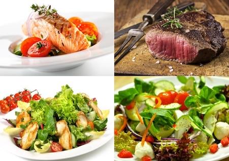 Sixpackguide: Foto von Fisch, Fleisch und Salat beim Nahrungsmenge reduzieren.