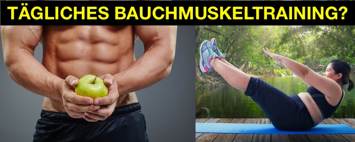 Tägliches Bauchmuskeltraining: Foto von einem Mann mit Sixpack und einer dicken Frau beim Sixpack Training.
