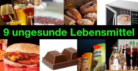 Ungesunde Lebensmittel: Foto von neun ungesunden Nahrungsmitteln.