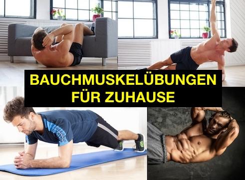 Waschbrettbauch Mythos: Foto von vier Bauchmuskelübungen für zuhause für Anfänger.