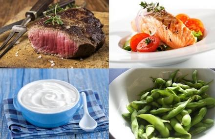 Waschbrettbauch Ernährung: Foto von den eiweißhaltigen Nahrungsmitteln Fleisch, Fisch Magerquark und Bohnen.