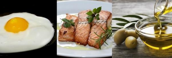 Waschbrettbauch Ernährung: Foto von den guten Fetten Ei, Fisch und Öl.