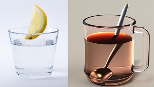 Sixpack Ernährung: Foto von den Getränken Wasser und Tee.