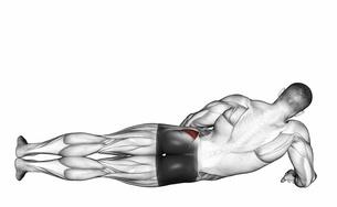 Beinmuskeltraining: Foto von der Übung Abduktoren-Beinheben (Anfangsposition).