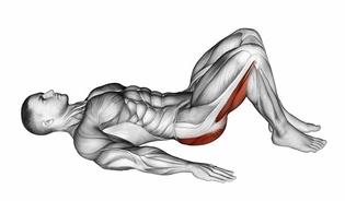 Beinmuskeltraining: Foto von der Übung Beckenheben ohne Gewicht (Anfangsposition).