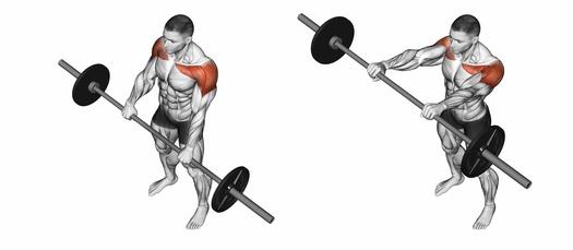 Schulterübungen ohne Geräte: Foto von der Übung Langhantel Frontheben.