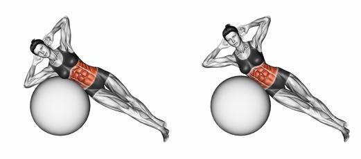 Seitliche Bauchmuskeln trainieren: Foto von der Übung seitliche Crunches auf dem Pezziball.