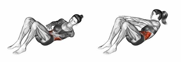 Seitliche Bauchmuskeln trainieren: Foto von der Übung seitliche Crunches zum Fuß.