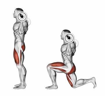 Foto von einer der Beinstrecker Übungen namens Ausfallschritte mit Langhantel.