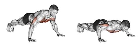 Brustmuskeltraining ohne Geräte: Foto von der Übung breite Liegestütze.