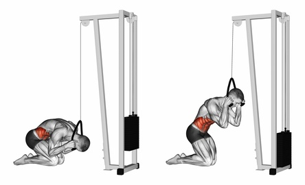Kabelzug Übungen: Foto von der Bauch Übung Crunches am Kabelzug.