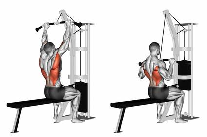 Foto von der Übung Latziehen an der Latmaschine zum Rückenmuskulatur trainieren.