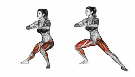 Oberschenkelmuskel trainieren: Foto von der Übung Ausfallschritt seitlich.