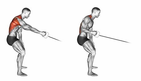 Kabelzug Übungen: Foto von der Latissimus Übung Rudern am Kabelzug einarmig.