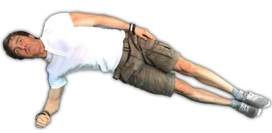 Rückenschule Übungen PDF: Foto von der Bauchübung seitlicher Unterarmstütz.