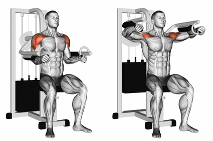 Foto von der Übung Seitheben Maschine zum Schultermuskeln trainieren.