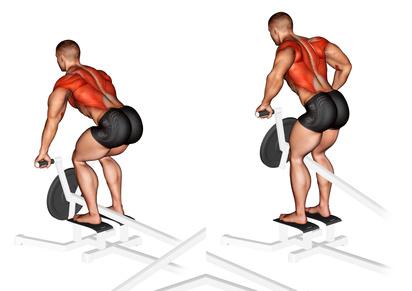Rückenübungen PDF: Foto von der Übung T Bar Rudern an der Maschine.