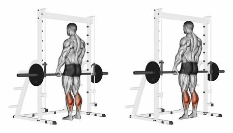 Wadenmuskulatur trainieren: Foto von der Übung stehendes Wadenheben an der Multipresse.