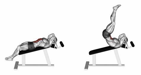 Foto von der Übung Beinheben liegend auf der Schrägbank als Beinheben hängend Alternative.