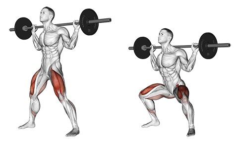 Foto von der Übung breite Kniebeugen mit Langhantel, auch Sumo Kniebeugen genannt.