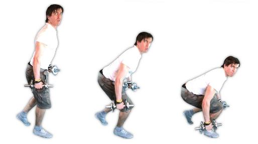 Foto von der Übung einbeinige Kniebeuge mit Kurzhanteln.