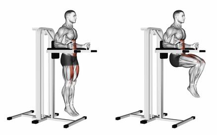 Foto von der Übung Knieheben am Gerät als Beinheben hängend Alternative.