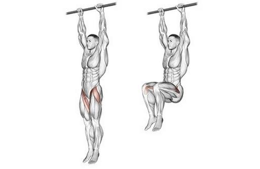 Foto von der Übung Knieheben hängend.