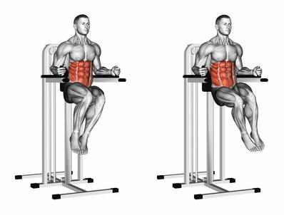 Foto von der Übung seitliches Knieheben am Gerät als seitliches Beinheben hängend Alternative.