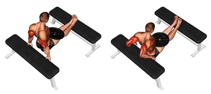 Trizeps Dips: Foto von der Übung Arnold Dips mit Zusatzgewicht.