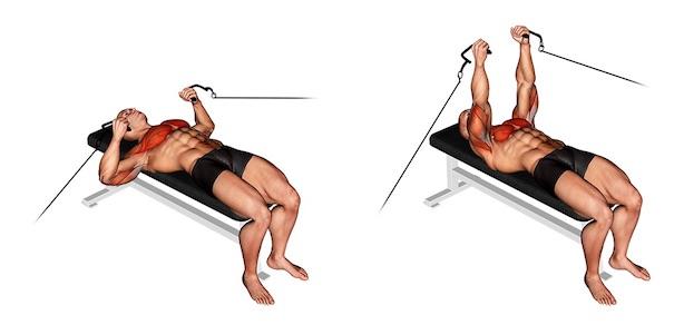 Brustmuskel Übungen: Foto von der Übung Bankdrücken mit Kabelzug.