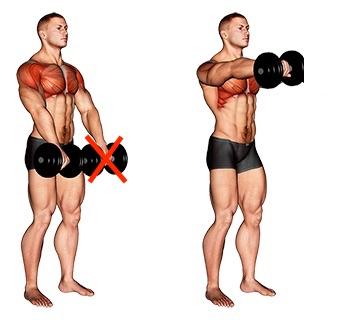 Foto von der Übung einarmiges Frontheben mitKurzhantel stehend.