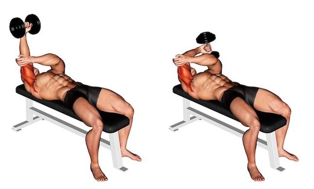 Trizeps Übungen Kurzhantel: Foto von der Übung einarmiges Trizepsdrücken Kurzhantel liegend.