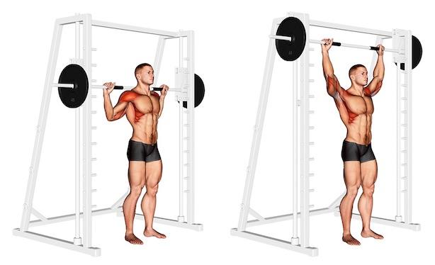 Foto von der Übung Langhantel Schulterdrücken Multipresse stehend hinter Kopf.