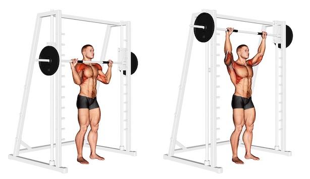 Foto von der Übung Schulterdrücken Multipresse stehend vor Kopf.